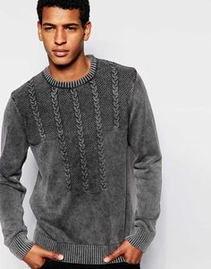 """Jumper by ASOS Mid-weight knit Acid wash Crew neck Mixed cable front Ribbed trims Regular fit - true to size Machine wash 100% Cotton Our model wears a size Medium and is 188cm/6'2"""" tall"""