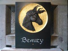 Delabole slate Horse Sculpture / Equines Race Horses Pack HorseCart Horses Plough Horsess sculpture by artist Duncan Park titled: 'Horse portrait relief sculpture'