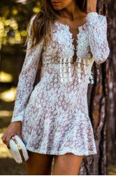 Sweet White Hollow Out Lace Open Back Mini Dress For Women