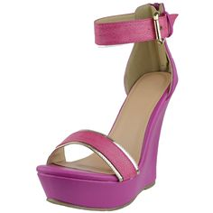 de0f1f3618d2 Women s Croc Print Two Tone Ankle Strap Platform Wedge Sandals Fuchsia  fashion style outfit footwear shoes