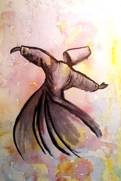 Sufi whirling dervish, Original watercolor painting ,  Mevlana art , Sufism and dervishes,  Most popular art
