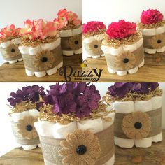 Set of 3, Shabby Chic Diaper Cakes, Mini Diaper Cakes, Burlap Diaper Cakes, Rustic Diaper Cake, Burlap Baby Shower Decor, Baby shower decorations, Gender Neutral Baby Shower, by BuzzyDiaperCakes