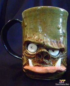 ogre beer mug- complete 2 by thebigduluth on DeviantArt Clay Mugs, Ceramic Mugs, Ceramic Pottery, Ceramic Art, Slab Pottery, Thrown Pottery, Pottery Vase, Ceramic Bowls, Ceramic Monsters