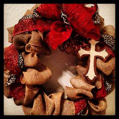 Burlap Christmas wreath with cross