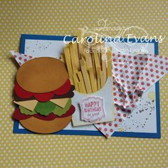 Hi Everyone I have a quick Punch art card to share with you today. This large A5 Card with Burger and Chips, is c omplete with a napkin ma...