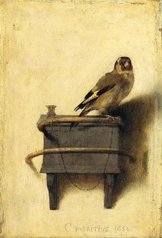 "Carel Fabritius, Rembrandt's most gifted student, utilized fluent brushwork to create arguably the most famous bird in Dutch art history, ""The Goldfinch,"" in 1654. The nearly life-size depiction was likely conceived as a trompe l'oeil work; it measures 13¼ by 9 inches."