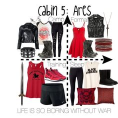 Cabin 5: Ares by aquatic-angel on Polyvore featuring Junk Food Clothing, Yves Saint Laurent, R13, NIKE, Jockey, WithChic, UGG, Steve Madden, Bee Goddess and Majorica