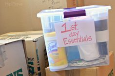 """Pack a clear """"First Day Essentials"""" bin. As an example, this bin has trash bags, box cutters, scissors, disinfectant wipes, paper towels, toilet paper, paper plates, paper cups, disposable silverware, hand soap and dish soap, coffee  coffeemaker. Transport this bin in your personal vehicle!"""