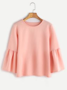 Pink Round Neck Bell Sleeve Blouse