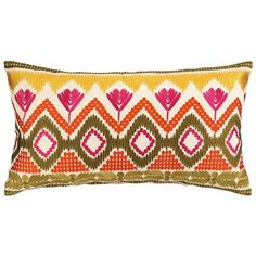 Trina Turk Pillow Embroidered Linen Anza Persimmon