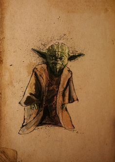yoda star wars retro laourde art