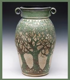 Tree carved pottery
