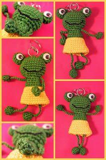 Amigurumi keychain frog