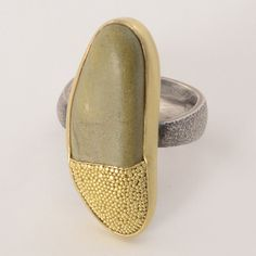 Harold O'Connor Ring, Indonesian Beach Pebble, Sterling Silver Band, 18K Gold Granulation and Bezel #artjewelry