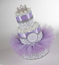 "The ""Little Princess"" in Lavender Diaper Cake with Tutu and Crown for Newborn. Baby Shower Centerpiece or Gift."