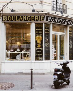 Old-fashioned boulangerie storefront in Paris.