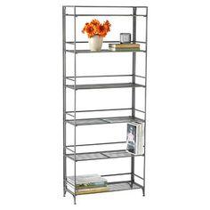 6-Shelf Iron Folding Bookcase