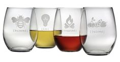 S/4 Asst. Tipsy Stemless Wineglasses