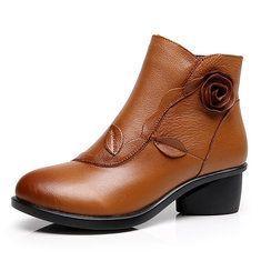 Designer Large Size Flower Vintage Fur Lining Boots - NewChic Mobile