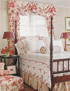 Crisp and cheery bedroom in White & Red~ Photo from Traditional Home.