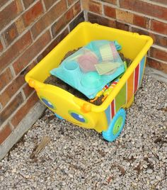 A portable sandbox on wheels! Perfect sensory play for preschoolers! *This is so simple, it is brilliant.