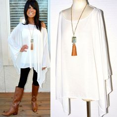 Sexy SOLID IVORY Loose Oversized Long Dolman Poncho Top Knit Cover Up O/S S - 3X #ArtisanNY #Poncho #Casual