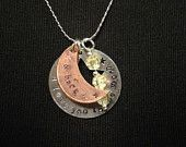 One of my favorite sayings, this necklace is the perfect gift to describe the lengths of your love to anyone in your life.   These metal stamped pendants are made of copper (moon), sterling silver (star and chain), and are accented with beautiful off white crystals. The pendants have been given a light aged patina and sealed to help prevent future tarnishing.