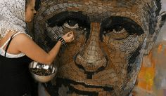 UKRAINIAN Artist Creates Portrait of Vladimir Putin – Out of 5,000 cartridges (13 Photos) | SCG VIRALS  Ukrainian artist Dariya Marchenko created her portrait piece called, The Face of War, of Vladimir Putin made from empty bullet cartridges – 5,000 to be exact...