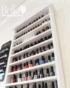 When storing nail polish it's necessary to be able to see the colors so you dont have to take them one by one until you find the one you actually need.   bellafurniture.ie  #love #bespoke #colours #furniture #salons #beauty #hair #beautysalon #SPA #hairsalon #boutique #bridal #beauticians #hairdressers #beautiful #unique #diamonds #luxurious #style #hairstylist #FurnitureMadeWithLove #peace #bellafurniture #BellaFurnitureIreland #storage #storagearea #style