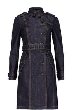 Burberry Brit Пальто джинсовое с поясом Синий 43 850 Р.