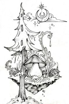 25 Awesome Photo of Weed Coloring Pages Weed Coloring Pages Trippy Space Colori Trippy Drawings, Pencil Art Drawings, Cool Art Drawings, Art Drawings Sketches, Mushroom Drawing, Mushroom Art, Kritzelei Tattoo, Alien Tattoo, Bild Tattoos