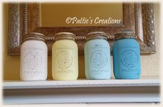 Some mason jars that I painted and added rope around the tops. I haven't decided what to put in them yet! I saw some mason jars that were painted with a frosted paint to resemble sea glass and i think I will try that technique next. Come back to see what they look like...