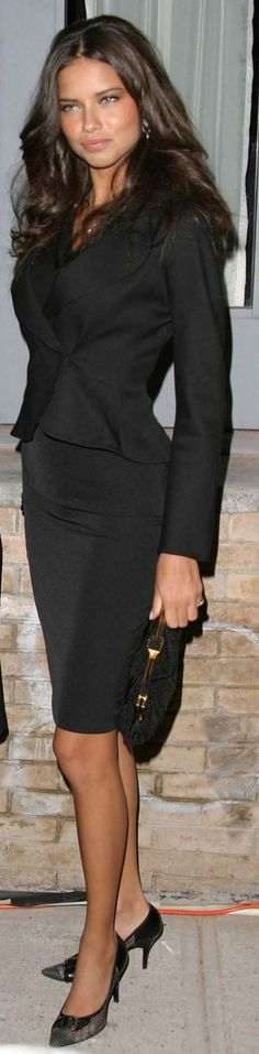 Adriana Lima dressed in a black suit in Victoria's Secret Supermodels Host Party 2011