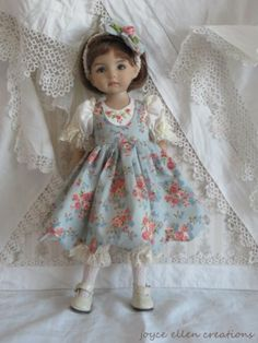 """13"""" Effner Little Darling BJD Vintage Lace Blue OOAK Handmade Set by JEC   eBay"""