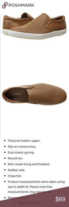 Leather slip on Stylish and comfortable. This Calvin Klein leather slip on is perfect for summer. Color tan. Sz. 11 Calvin Klein Shoes Loafers & Slip-Ons