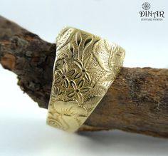 14k gold Signet Ring Rose flower A Victorian by DINARjewelry