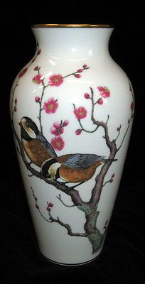 Large 1981 FRANKLIN MINT Porcelain BIRD Vase ~ NR!