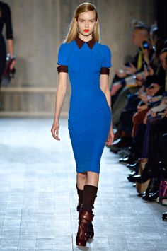 Victoria Beckham Fall 2012 - the silhouette, like previous collections, is body-con. But it's her tireless research on fabric and cut that nail the collection.