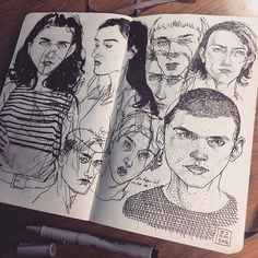 Late night face studies I did yesterday. #drawing in my #Moleskine #sketchbook 13x21 cm - My sketch books 2011-12 & 2013 are available on shop.blackyard.ch or on Etsy, see the link in my Instagram profile ☛ The books are printed authentically true to the original on wood-free paper, 120 pages thread stitched and bound with a hardcover. English translation in the back.