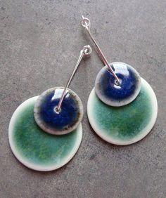 Hand built porcelain earrings on The Rabbit Muse blog, created by artist Nancy E. Schindler.