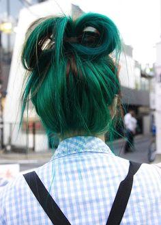 Dark green hair in a ribbon bun updo  #hair #haircolor #hairstyle