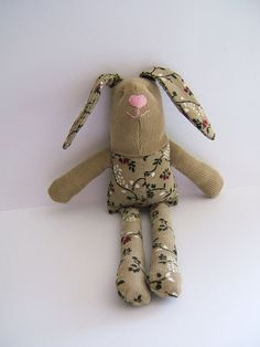 Stuffed bunny.. Small Easter bunny. Soft stuffed by ThePaperNeedle