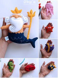 Under the sea mobile - Poseidon mobile - #jellyfish #feltfish #feltcrab #feltseahorse #feltseastar #feltmobile #cribmobile #obyshandmade