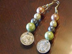 Indian Head/Buffalo Earrings with glass pearl beads by gr8byz, $17.00 #lovetsy #like2 #handmade