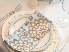 Wedding ideas for your mismatched china - handmade napkins.