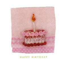 Luxury hand-finished birthday card with a glittered 3D embroidery-effect illustration of a pink birthday cake and candle, based on an original created by textile designer Abigail Mill.