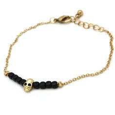 Black & Gold Skull Bracelet Available from www.skullaccessories.co.uk