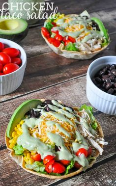 Chicken Taco Salad Recipe with a Jalapeno and Avocado Greek Yogurt Dressing - A light lunch or dinner idea that is the perfect use for leftover chicken! Prep time is quick making it a great weeknight meal! | The Love Nerds
