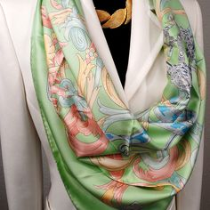 Authentic Pre Owned Hermes Silk Scarf Le Mors a la Conetable by Henri d'Origny Unworn