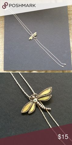 """Dragonfly necklace. Stunning silver and green opal dragonfly necklace.  12 1/4"""".  Dragonfly is adjustable. Jewelry Necklaces"""